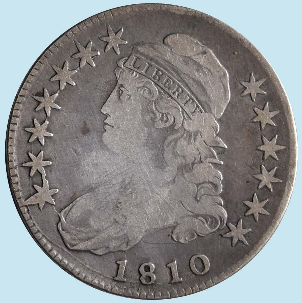 1810 Bust Half Dollar. O-101a+. Late die state. Fine or so