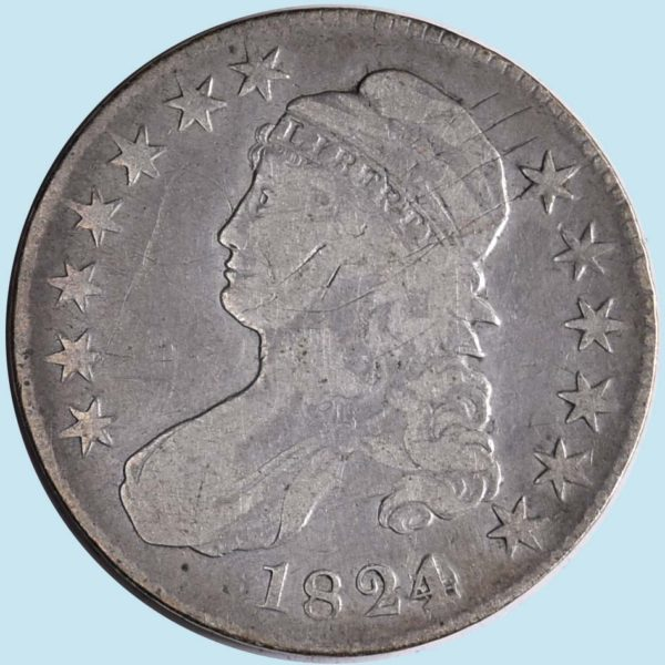 1824 Bust Half Dollar. O-103. Scratches. Very Fine