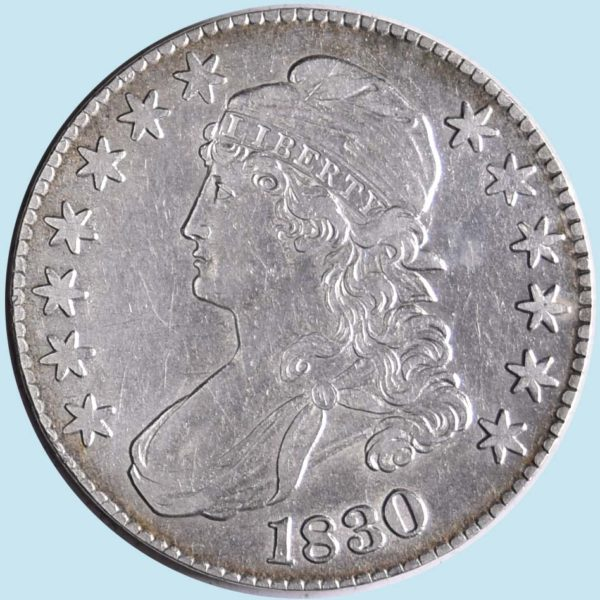 1830 Bust Half Dollar. O-120. Tall 0. Extra Fine. Dipped