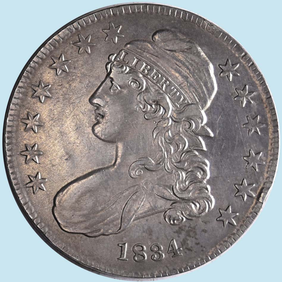 1834 Bust Half Dollar. O-120. Small Date and Letters