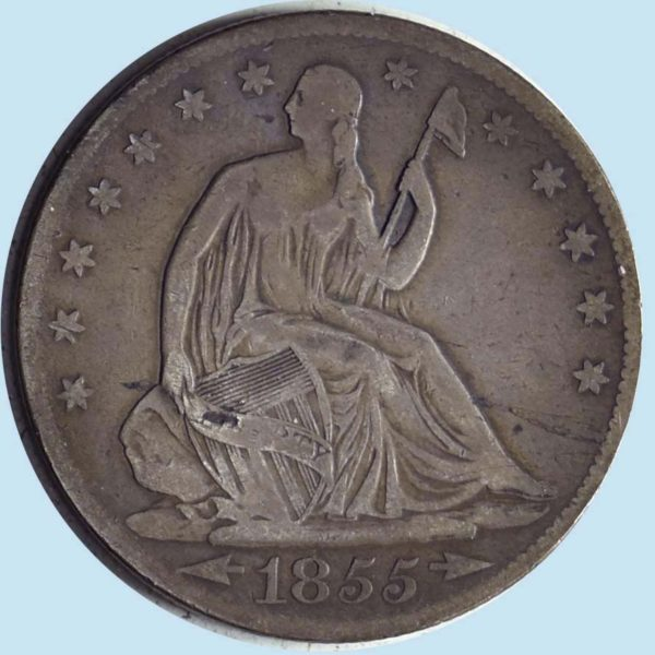 1855-O Seated Liberty Half Dollar. Fine. Details