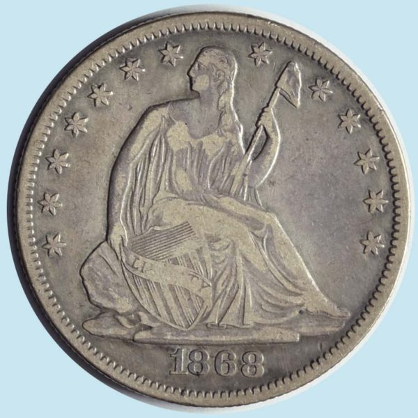 1868 Seated Liberty Half Dollar. Very Fine