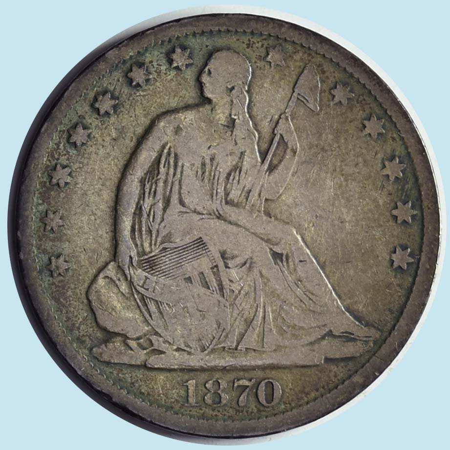 1870-S Seated Liberty Half Dollar. Fine-