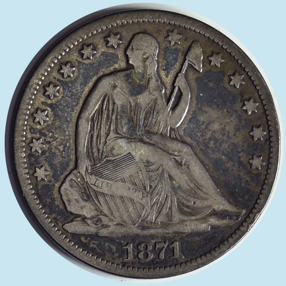 1871-S Seated Liberty Half Dollar. Fine