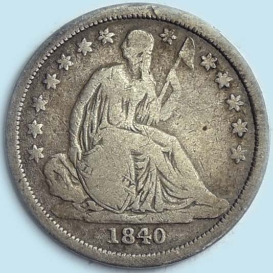 1840 Liberty Seated Dime. No Drapery. Good