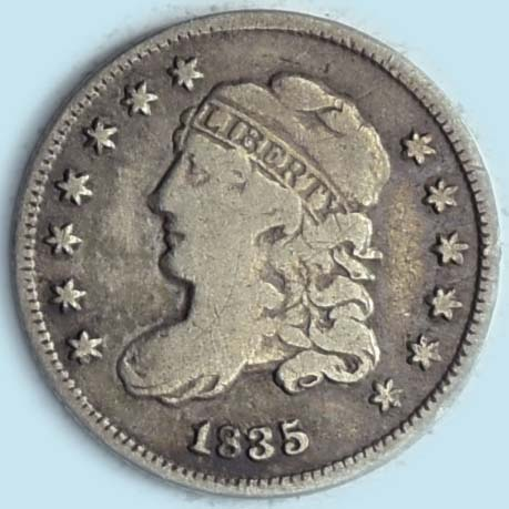 1835 Capped Bust Half Dime. LM-8.1. R2. Small Date