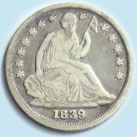 1839 Seated Liberty  Half Dime. Fine