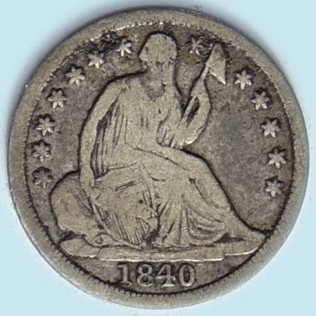 1840 Seated Liberty  Half Dime. ND. Very Good