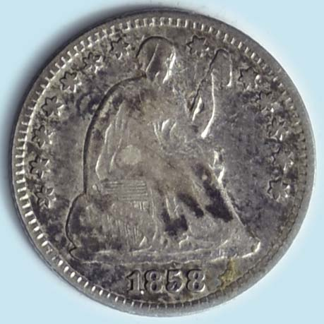 1858 Seated Liberty  Half Dime. Double Date. About Fine