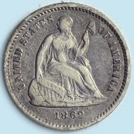 1862 Seated Liberty  Half Dime. Very Fine-Extra Fine