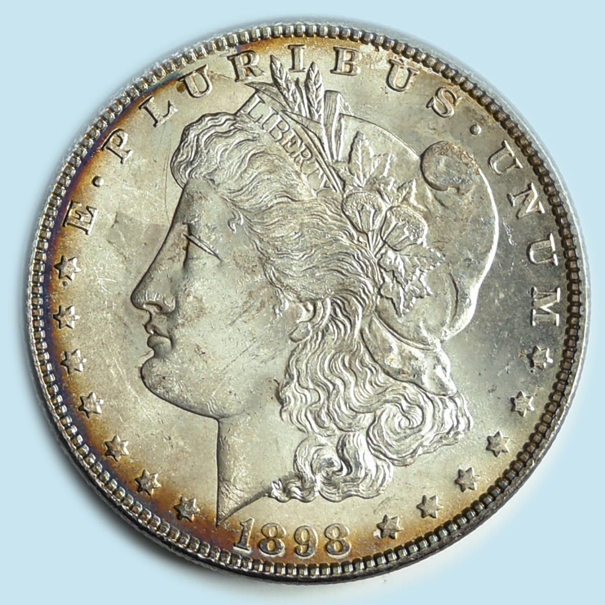 1898 Morgan Dollar. Choice Brilliant Uncirculated. Nice peripheral toning