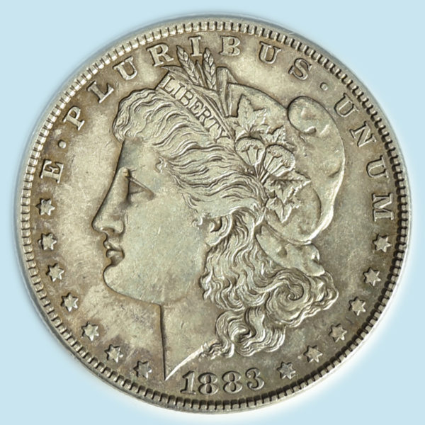 1883 Morgan Dollar. Almost Uncirculated with deep silvery grey and dusty pink toning throughout
