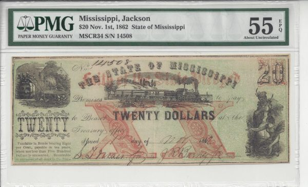 Mississippi, Jackson, State of Mississippi, $20, Nov 1, 1862. (Cr-34)