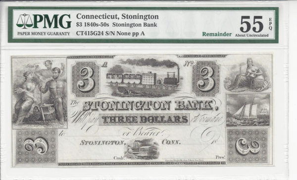 Connecticut, Stonington, Stonington Bank, $3, 1840s-1860s.