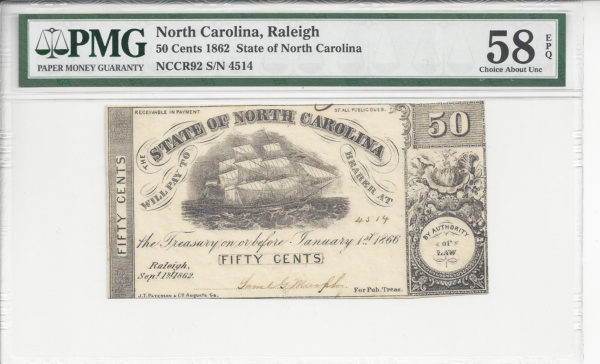 North Carolina, Raleigh, State of North Carolina, $50 Cents, Sept. 1, 1862. (Cr-92)