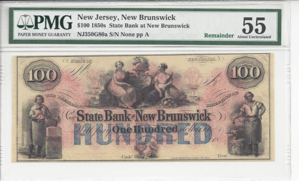 New Jersey, New Brunswick, State Bank of New Brunswick, $100, 1850s, PMG 55