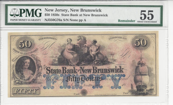 New Jersey, New Brunswick, State Bank of New Brunswick, $50, 1850s.