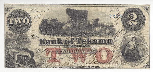 Nebraska, Burt County, Bank of Tekama, $2, Sept 1, 1857 (NE-85 G4a), Very Fine