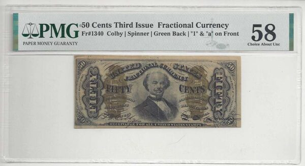 Fr-1340 50 Cents Fractional Currency PMG Choice About Unc 58 EPQ